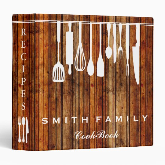 Wooden Personalized Family Recipe Cookbook Wooden 3 Ring