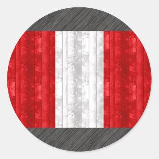 Wooden Peruvian Flag Classic Round Sticker