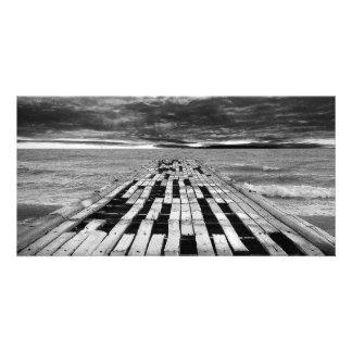 Wooden pier custom photo card