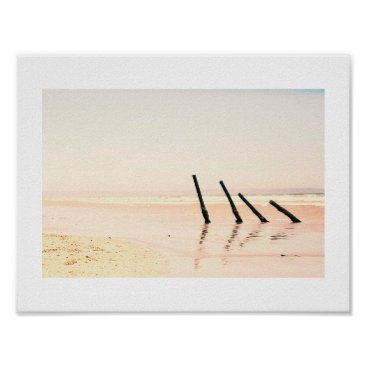 Wooden Piles Old Pier Beach Ocean Sea Poster