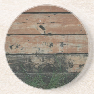 Wooden planks with algae grass  growing photograph coaster