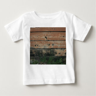 Wooden planks with algae grass  growing photograph infant t-shirt