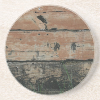 Wooden planks with algae grass  growing photograph sandstone coaster