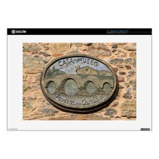 """Wooden plaque Furelos Bridge, El Camino, Spain 15"""" Laptop Skin"""