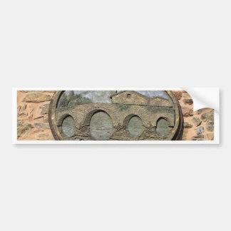 Wooden plaque Furelos Bridge, El Camino, Spain Bumper Sticker