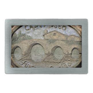 Wooden plaque Furelos Bridge, El Camino, Spain Rectangular Belt Buckle