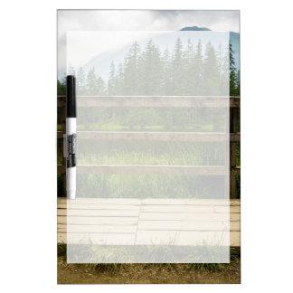 Wooden Platform Lake Landscape Photo Dry Erase Board