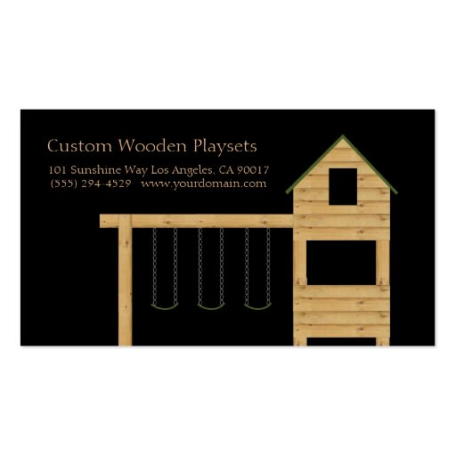 Wooden Playset Playhouse Swing Set Classic Black Business Cards