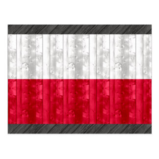 Wooden Polish Flag Postcard