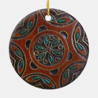 Wooden Polish Plate Design Ceramic Ornament