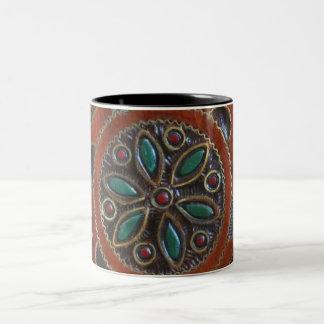 Wooden Polish Plate Design Two-Tone Coffee Mug