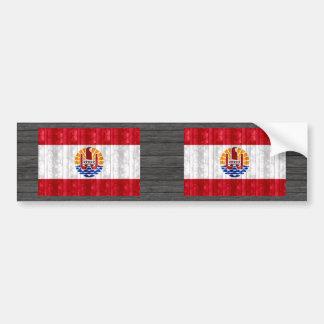 Wooden Polynesian Flag Bumper Sticker