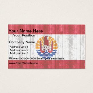 Wooden Polynesian Flag Business Card