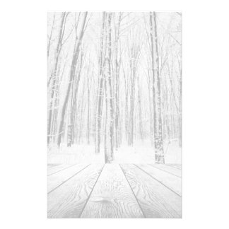 Wooden Porch and Snowy Forest Stationery