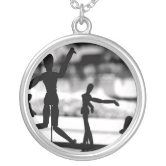 Wooden Puppet BW Silver Plated Necklace