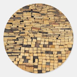 Wooden Puzzle Classic Round Sticker