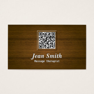 Wooden QR Code Massage Therapist Business Card