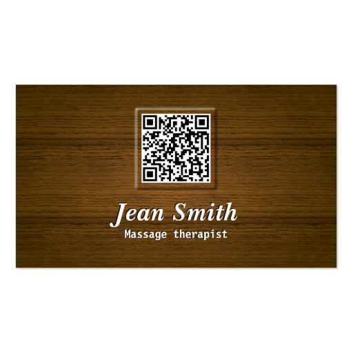 Wooden QR Code Massage Therapist Business Card