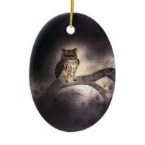 Wooden rabbit 2 ceramic ornament