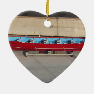 Wooden racing boat with ten seats ceramic ornament