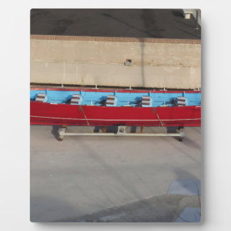 Wooden racing boat with ten seats photo plaque