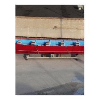 Wooden racing boat with ten seats postcard