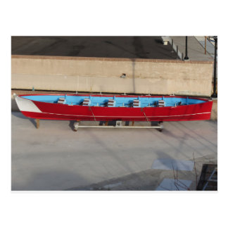 Wooden racing boat with ten seats postcard