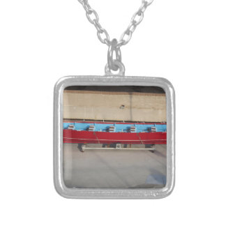 Wooden racing boat with ten seats silver plated necklace