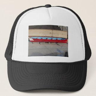 Wooden racing boat with ten seats trucker hat