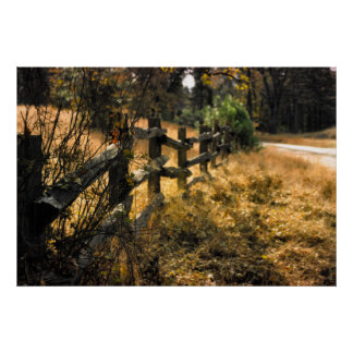 Wooden rail fence poster