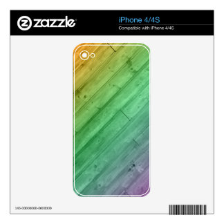 Wooden Rainbow Case Decals For iPhone 4