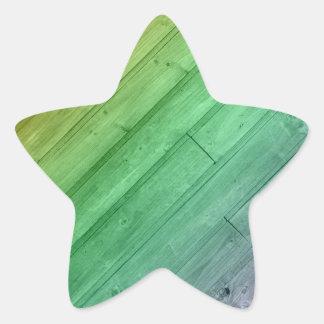 Wooden Rainbow Design Star Sticker