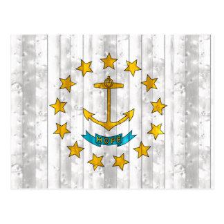 Wooden Rhode Islander Flag Postcard