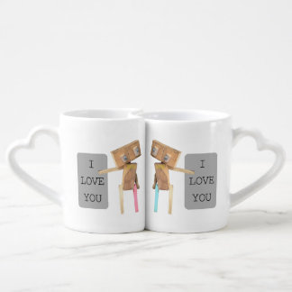 Wooden robot, I love you Lovers Mugs