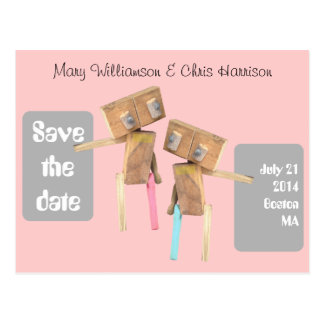 Wooden Robots Save the date Postcard