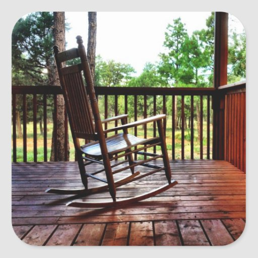 Wooden Rocking Chair on Porch Square Sticker  Zazzle