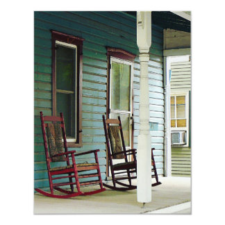 Wooden Rocking Chairs on Porch Card