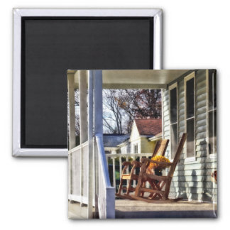 Wooden Rocking Chairs on Porch in Autumn 2 Inch Square Magnet