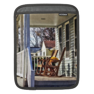 Wooden Rocking Chairs on Porch in Autumn iPad Sleeves