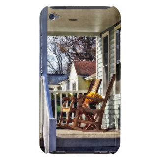 Wooden Rocking Chairs on Porch in Autumn iPod Case-Mate Case