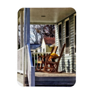 Wooden Rocking Chairs on Porch in Autumn Rectangular Photo Magnet