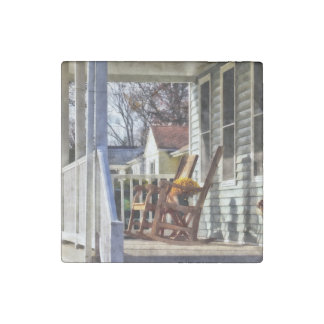 Wooden Rocking Chairs on Porch in Autumn Stone Magnet