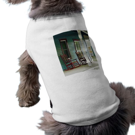 Wooden Rocking Chairs on Porch Pet T-shirt