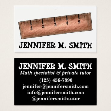 Beach Themed Wooden Ruler Math Teacher Tutor Mathematics School Business Card