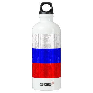 Wooden Russian Flag Aluminum Water Bottle