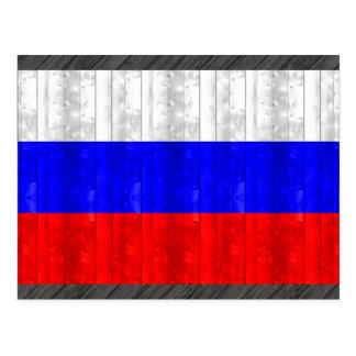 Wooden Russian Flag Postcard