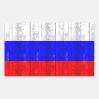 Wooden Russian Flag Rectangular Sticker