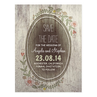 wooden rustic country save the date postcards
