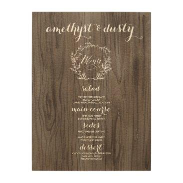 joyonpaper Wooden Rustic Wedding Menu Sign