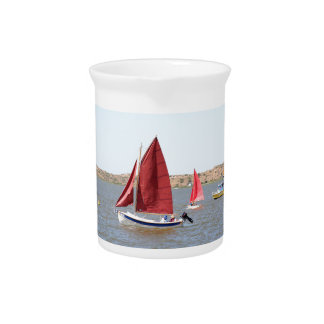 Wooden sail boat beverage pitcher